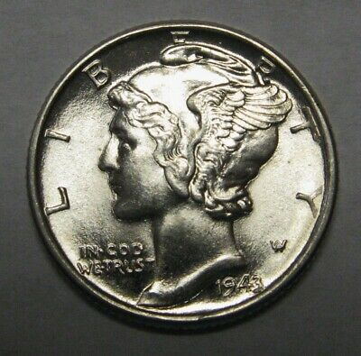 1943-D Mercury Head Silver Dime Grading Choice Uncirculated Nice Original Coins