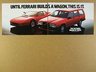 1986 Ferrari Testarossa & Volvo 740 Turbo Wagon red cars photo vintage print Ad