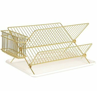 Present Time WIRE DISH RACK GOLD Dish Drainer with Tray