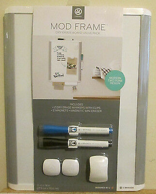 U Brands Mod FRAME Magnetic Surface  DRY ERASE BOARD VALUE PACK  11 x 14 Inches