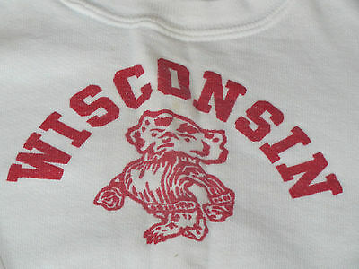 Vintage 1950's kid's child WI Wisconsin Badger logo SWEATSHIRT size 5-6 ?????