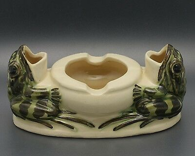 Antique Brush McCoy Pottery Double Frog Ashtray #042 - Excellent Condition