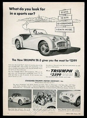 1956 Triumph TR3 TR-3 car 4 photo road sign art vintage print ad