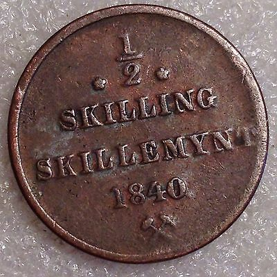 Carl XIV - Norway 1/2 Skilling 1840 Copper