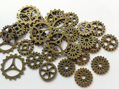 Pack of 30 Mixed Steampunk Style Gear Cogs In Antique Bronze Colour 23mm to 15mm