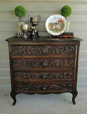 Antique French Carved DARK Oak Chest of Drawers Louis XV  Nightstand End Table