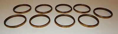 Set of 9 Antique Victorian English Heavy Solid Brass Curtain Rings