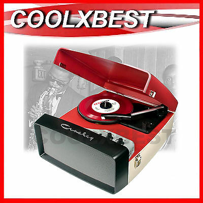 NEW CROSLEY COLLEGIATE RED TURNTABLE RECORD PLAYER w SPEAKER USB ENCODE AUX IN