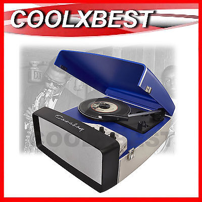 New Crosley Collegiate Retro Turntable Record Player Usb Enabled Aux In Blue