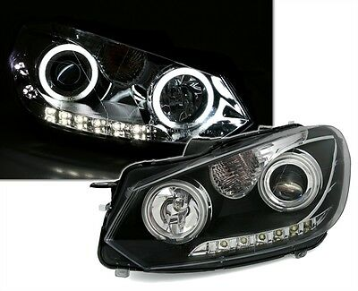 CCFL ANGEL EYES SCHEINWERFER SET SCHWARZ LED TFL DRL für VW GOLF 6 EAGLE EYES