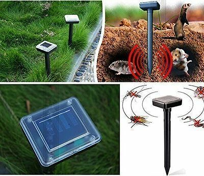 Solar Powered Ultrasonic Sonic Mouse Mole Pest Rodent Repeller Repellent Yard