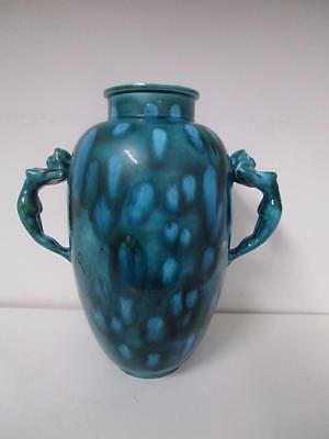 1975 RETRO Teal Blue Green AUSTRALIAN GALLERY ART POTTERY Vase Nude Lady Handles
