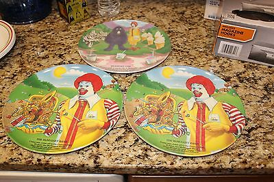 VINTAGE LOT OF 3 RONALD McDONALDS PLASTIC DINNER PLATES DISHES 1989 (A)