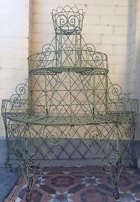 Very Rare Pair Of Original Victorian Antique Wire Plant Stands