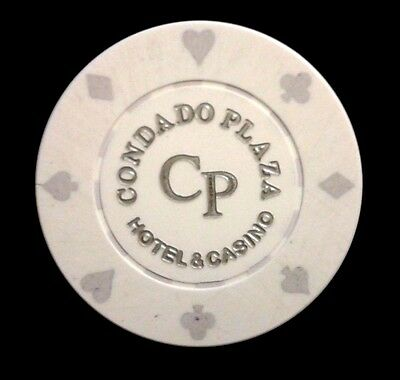 CONDADO PLAZA Casino WHITE Roulette Poker Chip SAN JUAN Puerto Rico Bud Jones