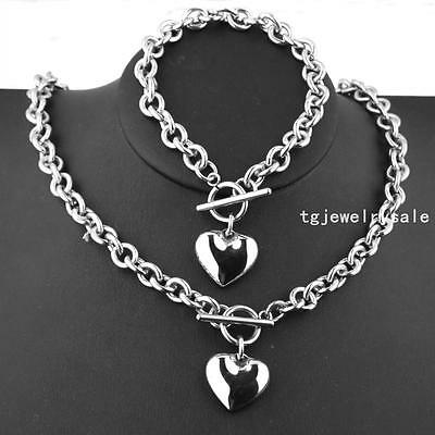 Cute Womens Stainless Steel Rolo Chain Solid Heart Toggle Bracelet Necklace Set