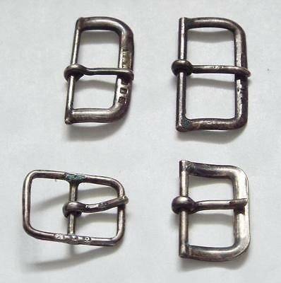 4 x Vintage 1920's Hallmarked Sterling Silver Small Double Loop Buckles