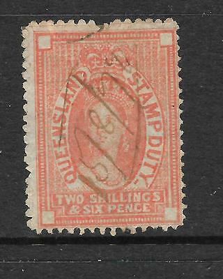 Queensland 1871-72   2/6   Qv  Stamp Duty  Fiscal  Burele Band   Sg F29