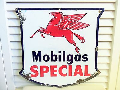 Vintage Mobil Oil Porcelain Sign Mobilgas Special GasPump Gas Station Pegasus