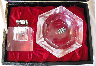 Never used Vintage 1950's Imported Hand Cut Crystal Lighter and Ashtray in Case