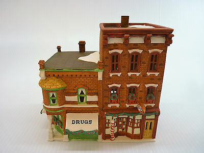 Dept 56 Bachman's Home Town Corner Drug Store And Barbershop 1988 RARE !! (1816)