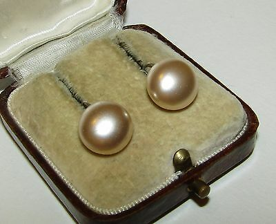 Elegant, Antique, Georgian, Classic Hook Sterling Silver Mabe Pearl Earrings