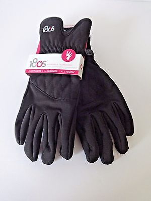 Womens 180S Touch Screen Gloves With Faux Leather Palm Size Xl Black