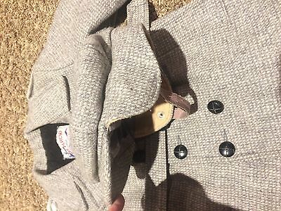 vintage  Solitaire boys childs long coat and hat, grey wool, s 4/5