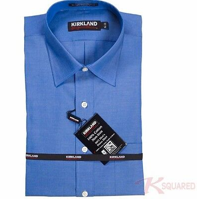 NWT! Kirkland Non-Iron Spread Collar Dress Shirt, French Blue FREE SHIPPING