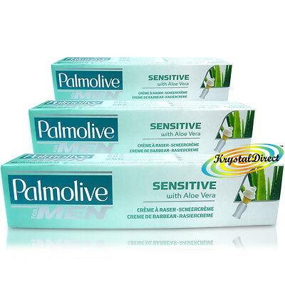 3x Palmolive Sensitive Shaving Lather Shave Cream 100ml With Palm Extract