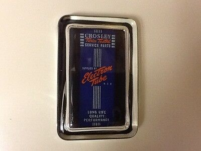 CROSLEY RADIO ELECTRON TUBE  Advertising Sign Logo GLASS PAPERWEIGHT