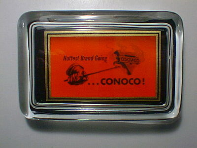 Conoco Oil Gas Station Branding Iron Logo Red Sign Advertising Glass Paperweight