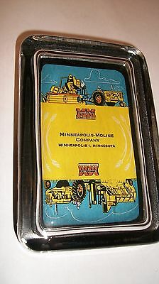 Minneapolis Moline MM  Logo B/Y Advertising Sign  Farm Tractor Glass Paperweight