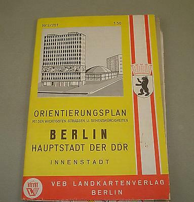 Vintage DDR GDR City Map East Berlin with WALL