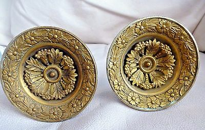 Pair French Empire style Bronze Floral Relief Drapery Curtain Tie Backs 19th Cen