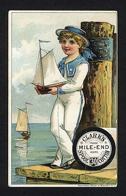 SAILOR BOY Toy Sail Boat CLARK'S MILE END Spool Cotton Sewing Thread Trade Card