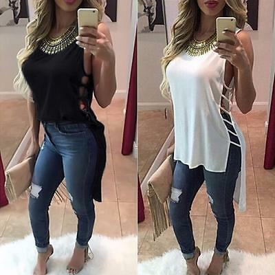 Womens Chiffon Blouse Hollow Vest Top Sleeveless Loose Tank Tops T-Shirt CA