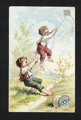 Victorian Boys FLYING KITE Trade Card CLARK'S O.N.T. Spool Cotton Thread 1880s