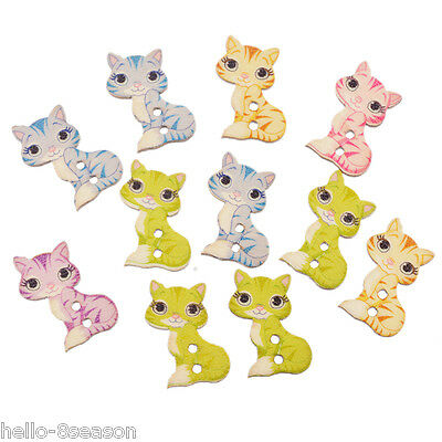 50PCs Mixed Colours Cute Cat 2-holes Wooden Button Charm Sewing Accessories