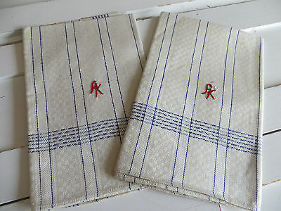 Unused Set Of Two ( 2 )  Towels Runners Checkerboard Linen Blue Stripes Monog AK