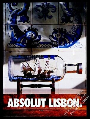 1998 Absolut Lisbon sailing ship in vodka bottle photo vintage print ad