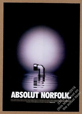 2001 Absolut Norfolk vodka bottle as submarine periscope vintage print ad