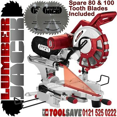 "12"" Double Bevel Lumberjack Sliding Compound Mitre Saw 240v with 2 Spare Blades"