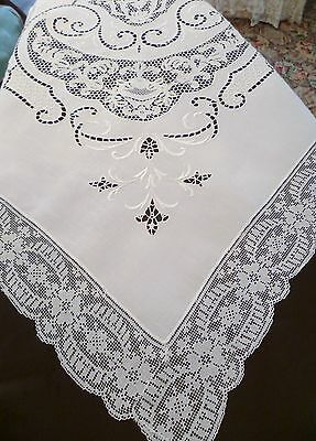 "108"" x 74"" Antique ITALIAN LACE Cutwork HAND Embroidery TABLECLOTH Irish LINEN"
