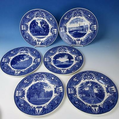 Wedgwood China - 1933 Blue West Point Military Academy - 6 Collector Plates