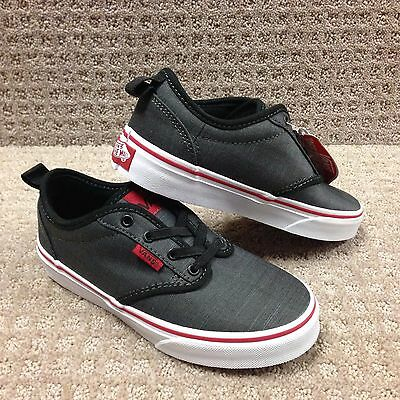 6fced0ea60 VANS ATWOOD Slip-On Canvas Black White Vn0004Lm187 Kid s Sz 3Y ...