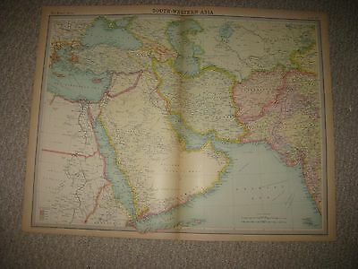 Antique 1922 Southwest Asia Arabia Persia Iran Iraq Afghanistan Times Atlas Map