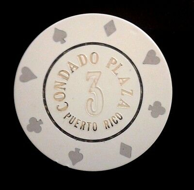 CONDADO PLAZA Casino WHITE #3 Roulette Poker Chip SAN JUAN Puerto Rico Bud Jones