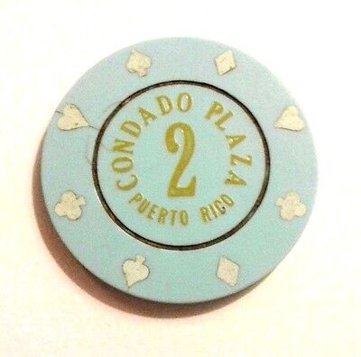 CONDADO PLAZA Casino BLUE #2 Roulette Poker Chip SAN JUAN Puerto Rico Bud Jones