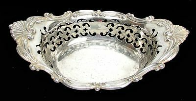 """Large Gorham Sterling Silver Reticulated 8 X 5"""" Master Nut / Candy Dish #1998"""